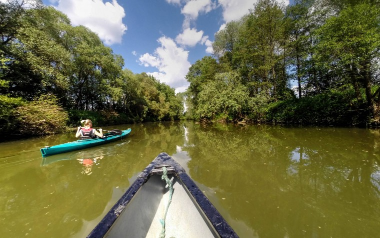 In the canoe through the nature park