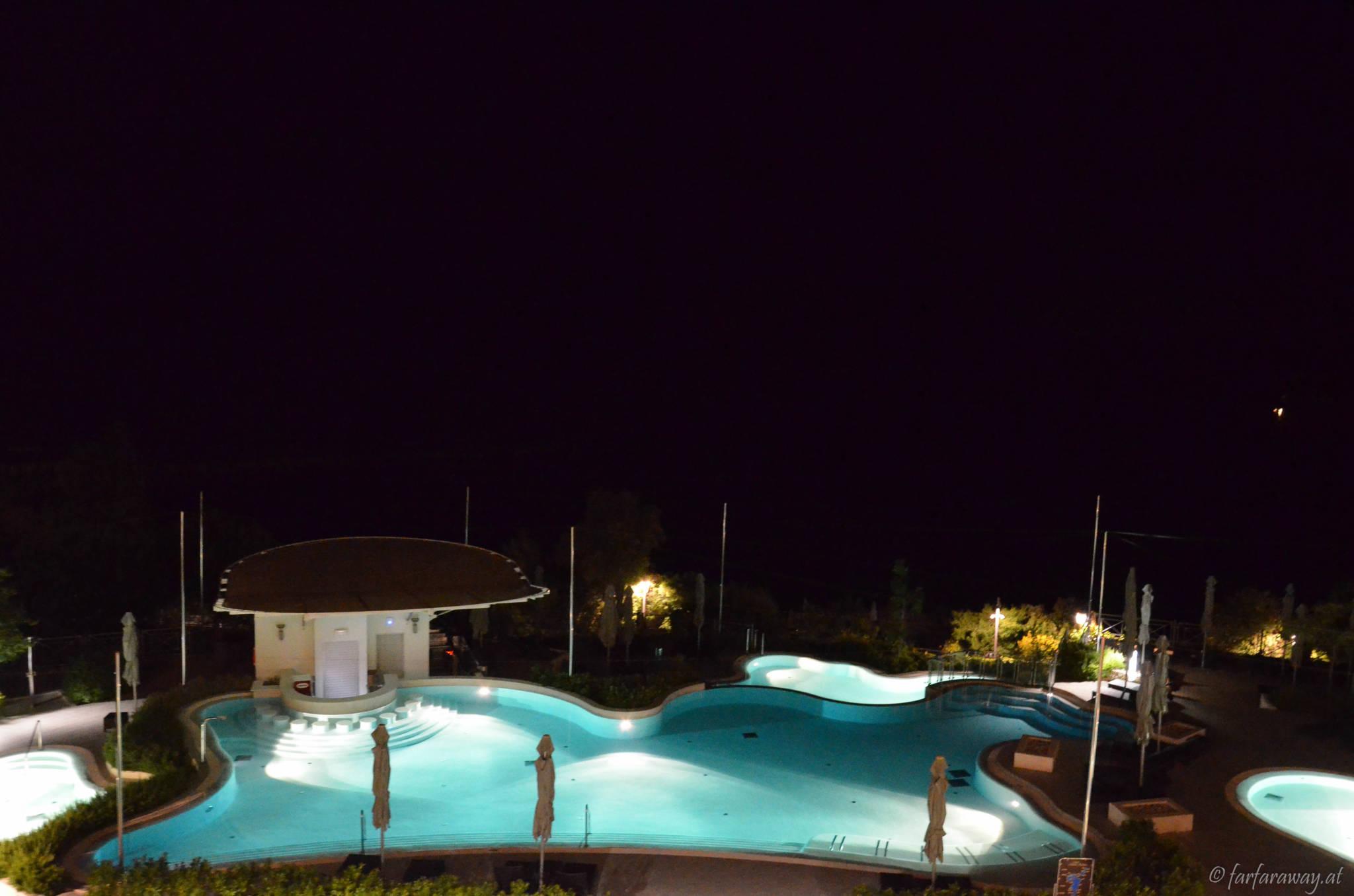 Blick auf die Pools im Monte Mulini